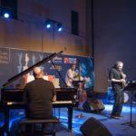 Premio Tamburini 2019 Javier Girotto con Stefano Onorati, Stefano Senni e Stefano Paolini (Foto: Tommaso Rosa)
